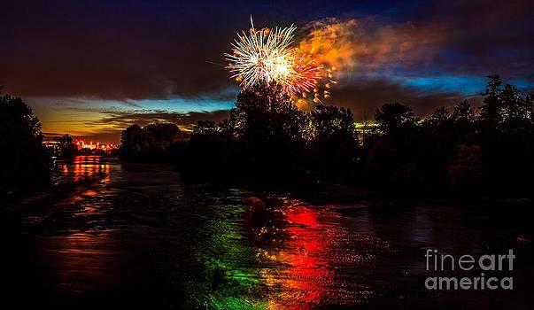 Fireworks over Willamette River Eugene Oregon by Michael Cross