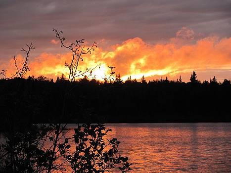 Firey Sunset by Carolyn Mortensen