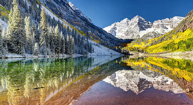 First Snow Maroon Bells by Art OLena