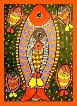 Fishes-Madhubani Painting by Neeraj kumar Jha