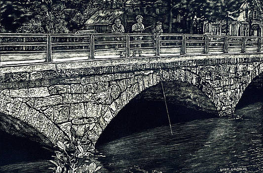 Fishing from the stone Arched Bridge by Robert Goudreau