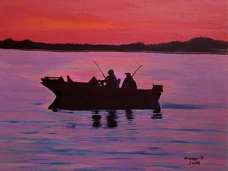 Fishing in the sunset by Maggie Ullmann