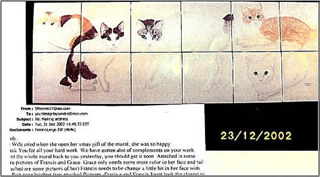 Five Japanese Bobtail Cats by Sandra Maddox