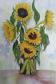Five Sunflowers by Doris Daigle