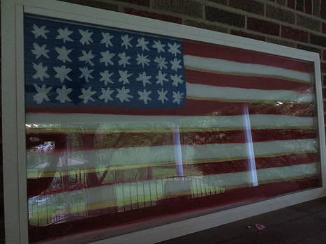 USA Flag Window by Sandra Spincola