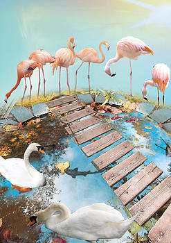Flamingo's on a Bridge by Emily Campbell