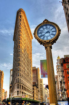 Flatiron Building and Fifth Avenue Clock by Randy Aveille