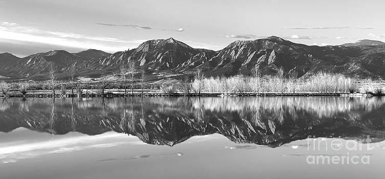 James BO  Insogna - Flatirons Morning Reflections Panorama Boulder Colorado in BW