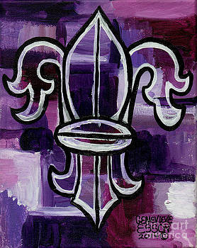 Genevieve Esson - Fleur De Lis Purple Abstract