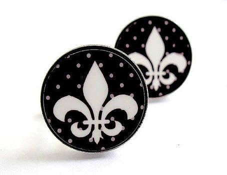FLEUR DE LIS  black and white with grey dots Cufflinks by Rony Bank