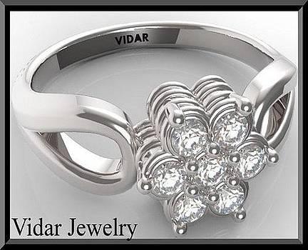 Flower Diamond 14k White Gold Engagement Ring by Roi Avidar