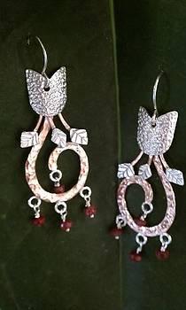 Flower Earrings with Ruby Beads by Dyan  Johnson