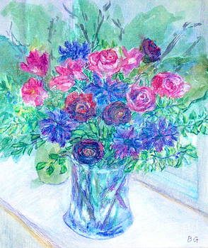 Flowers Blue and Pink by Bernice Grundy