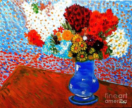 Flowers in a Blue Vase-VG by Israel  A Torres
