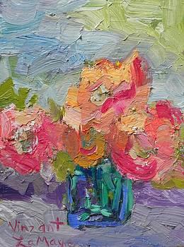 Flowers in a Green Vase by Nancy LaMay