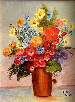 Flowers in Copper Pot by Janis  Tafoya