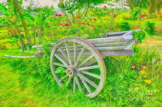 Flowers in a wagon by George Paris