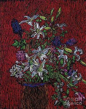 Flowers on Red by Bernice Grundy