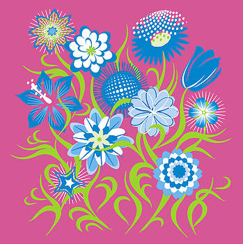Flowers Pink-Blue-Lime by John Rose