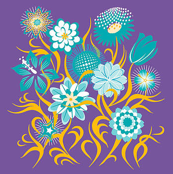 Flowers Violet-Turquoise-Gold by John Rose