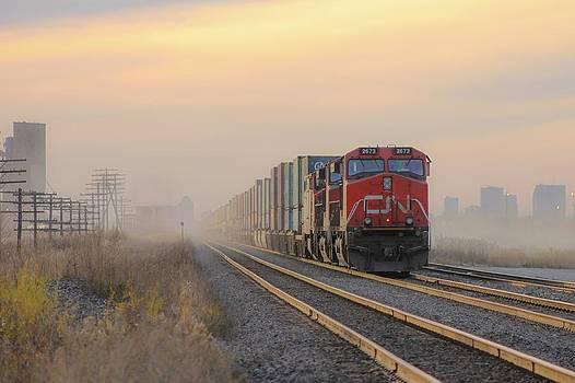 Fog Train in Winnipeg Manitoba by Steve Boyko