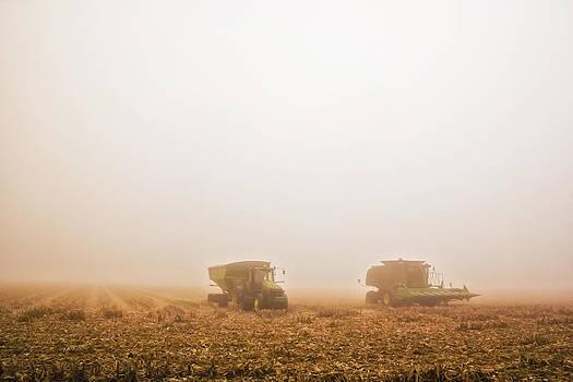 Foggy Harvest Albany Indiana by Michael Huddleston