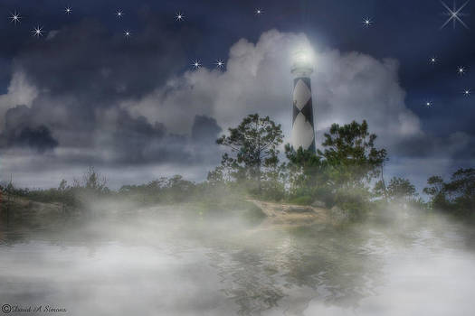 Foggy Night at Cape Lookout by David Simons