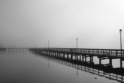 Foggy pier by Kimberly Oegerle