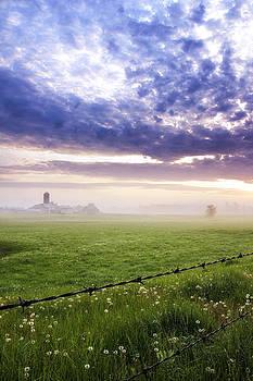 Foggy Sunrise over Indiana Field by Michael Huddleston