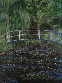 Footbridge Over Lily Pond by April Maisano