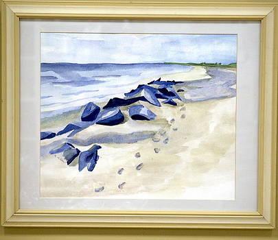 Footsteps in the sand by Kari Kline