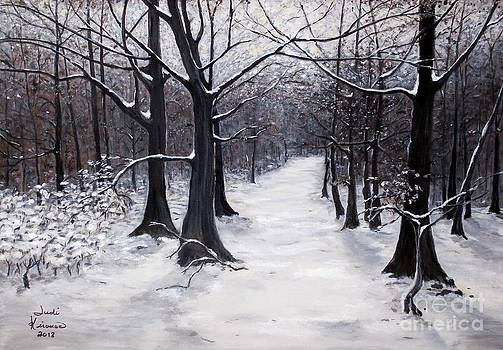 Forest Path in Winter by Judy Kirouac