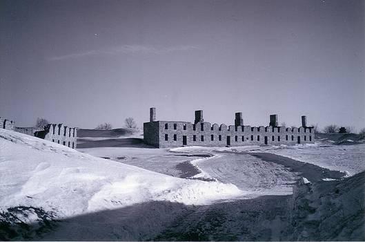 Fort Crown Point Ruins in Winter by David Fiske
