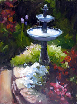 Fountain Among Flowers by Renee Peterson