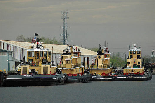 Four Barges on the Savannah River by Bruce Gourley