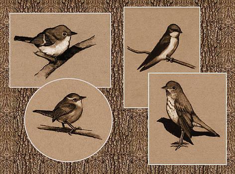 Joyce Geleynse - Four Birds In Charcoal