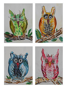 Four Hooting Owls by Carrie Godwin