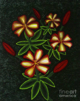 Four Lilies four buds by Edward C Van Wicklen Sr