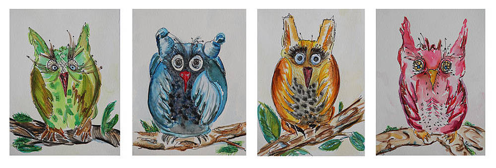 Four Owls Hanging Out by Carrie Godwin