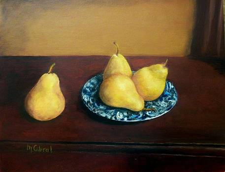 Four Pears and a Plate by Maggie  Cabral