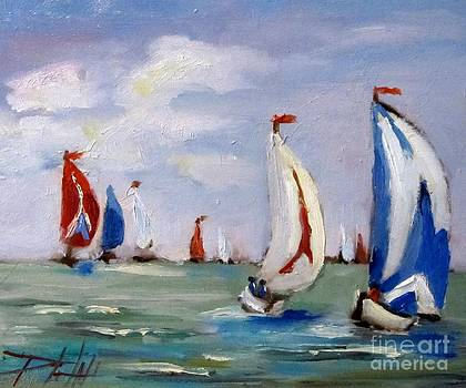 Fourth of July Sail Boats by Delilah  Smith