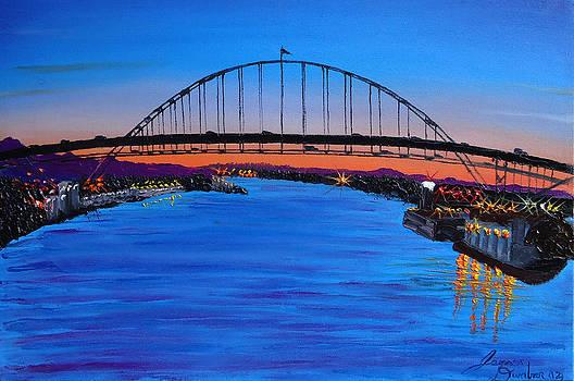 Fremont Bridge At Dusk 2 by Portland Art Creations