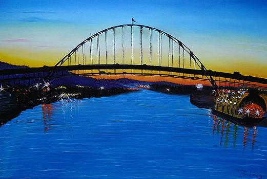 Fremont Bridge At Sunset by Portland Art Creations