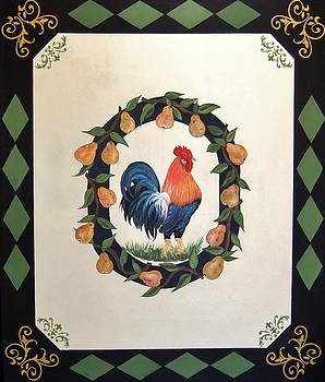 French Country Rooster With Pears by Cindy Micklos