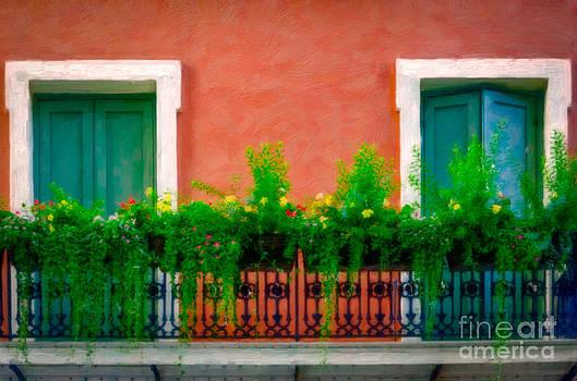 Kathleen K Parker - French Quarter Balcony And Flowers