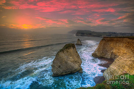 English Landscapes - Freshwater Sea Stack Sunset