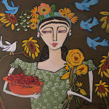 Frida and red cherries by Bailey Jack
