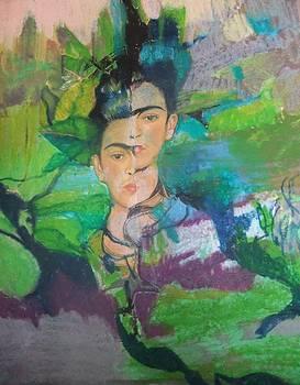 Frida Image through Leaves by Joyce Garvey