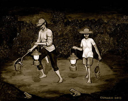 Frog Hunters Black and White Photograph Version by Cyril Maza
