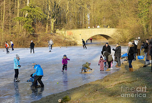 Frozen Lake Krefeld Germany by David Davies